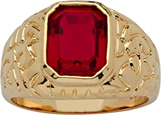 Men's 14K Yellow Gold Plated Emerald Cut Simulated Red Ruby Nugget Style Ring