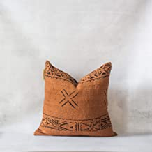 Authentic Mudcloth Throw Pillow Cover 18x18 Inches Decorative Couch Pillow Case for Boho Décor with African Bogolan Tribal Geo Print, Brown & Black Cloth