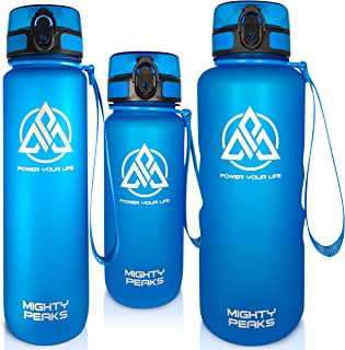 MIGHTY PEAKS Tritan sportowa butelka na napoje 650 ml, bez BPA, wkładka na owoce, sitko na owoce, niebieska, butelka do pi...