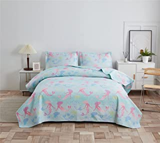 Ferdilan Kids Cozy Quilt Set 3 Pieces Twin Size Rainbow Mermaid Coverlet Reversible Bedspread Set with Matching Shams Ligh...