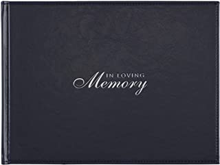 With Love in Loving Memory Guest Book - Navy Faux Leather - Condolence Book, Memorial Sign-in Book for Funerals & Memorial...