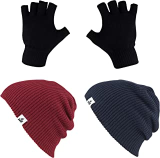 HOT FEET Winter Beanies | Warm Knit Men's and Women's Snow Hats/Caps | Unisex Pack/Set of 2