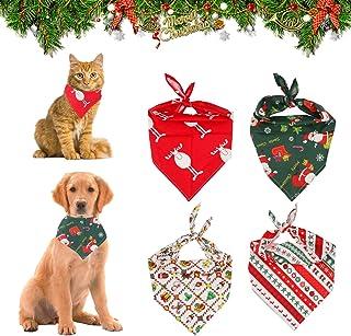 KATELUO 4 delar hundbandanas jul husdjur, jul hund bandana, rutig haklapp halsduk, med jultomten älg mönster, lämplig för ...
