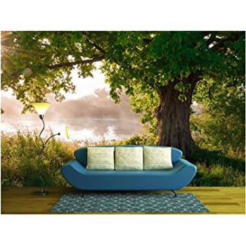 wall26 - Oak Tree in Full Leaf in Summer Standing Alone - Removable Wall Mural | Self-Adhesive Large Wallpaper - 66x96 inches