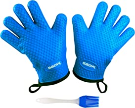 Heat Resistant BBQ Cooking Gloves - Plus Grill Brush & eBook of BBQ Recipes. Grill Gloves with Soft Inner Lining - Providing Comfortable Hand Protection - Food Safe & FDA Approved