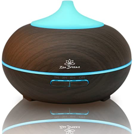 Essential Oil Diffuser Faux Dark Wood - Blue Light Aromatherapy Diffuser - Birthday Gift Edition - by Zen Breeze
