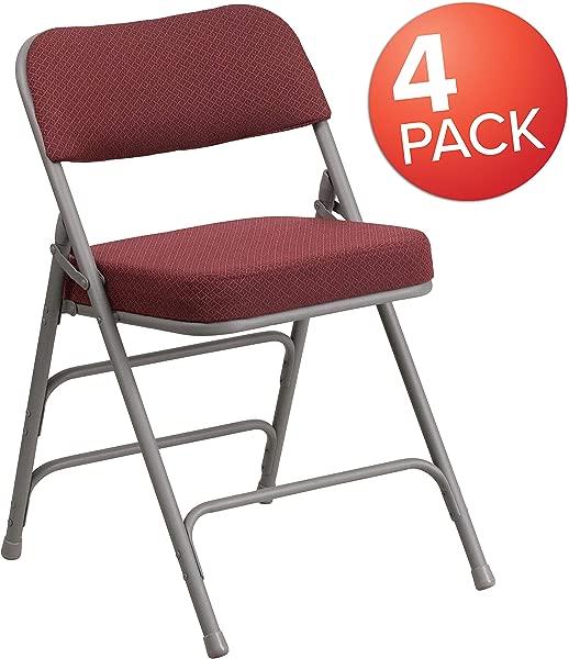 Flash Furniture 4 Pk HERCULES Series Premium Curved Triple Braced Double Hinged Burgundy Fabric Metal Folding Chair