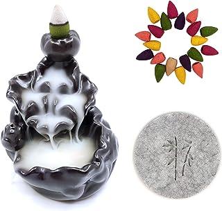 CrossZen Backflow Incense Burner, Ceramic Incense Holder Handmade Waterfall Incense Cones Holder Burner Set, Lotus Pond Ce...