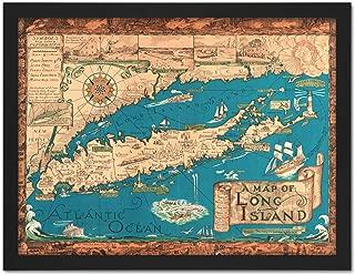 Smith 1933 Pictorial Map Long Island Ny History Artwork Framed Wall Art Print 18X24 Inch