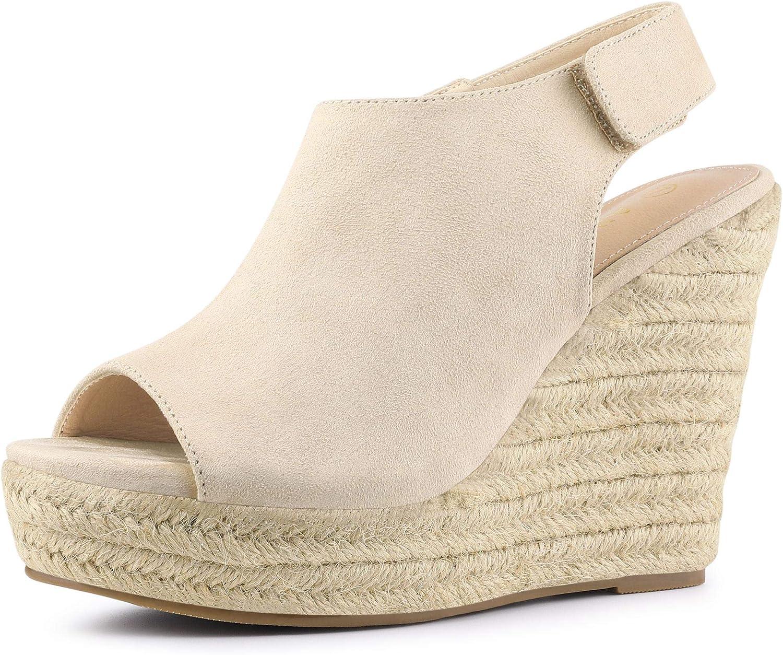 Allegra K Women's Slingback Gorgeous Indianapolis Mall Platform Wedg Wedges Espadrille Heel
