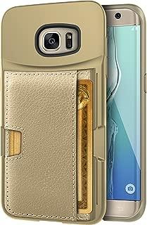 Smartish Galaxy S7 Edge Wallet Case - Q Card CASE [Samsung Slim Protective Kickstand CM4 Grip Cover] - Wallet Slayer Vol.2 (CM4) - Platinum Gold