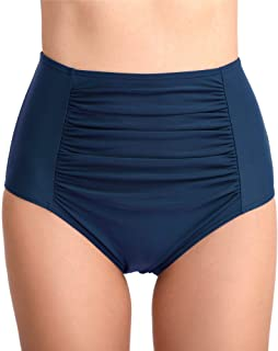 Womens Retro Ruched Bikini Brief Bottoms Ruched Hipster Swim Bottoms