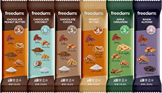 Freedom Bar Healthy Vegan, Nut and Fruit Bar Variety Pack - Non GMO, No Dairy Diet Snacks - All Natural, Kosher and Paleo Friendly Bars, 6 Mouth Watering Bars (1.7 Ounce Each)
