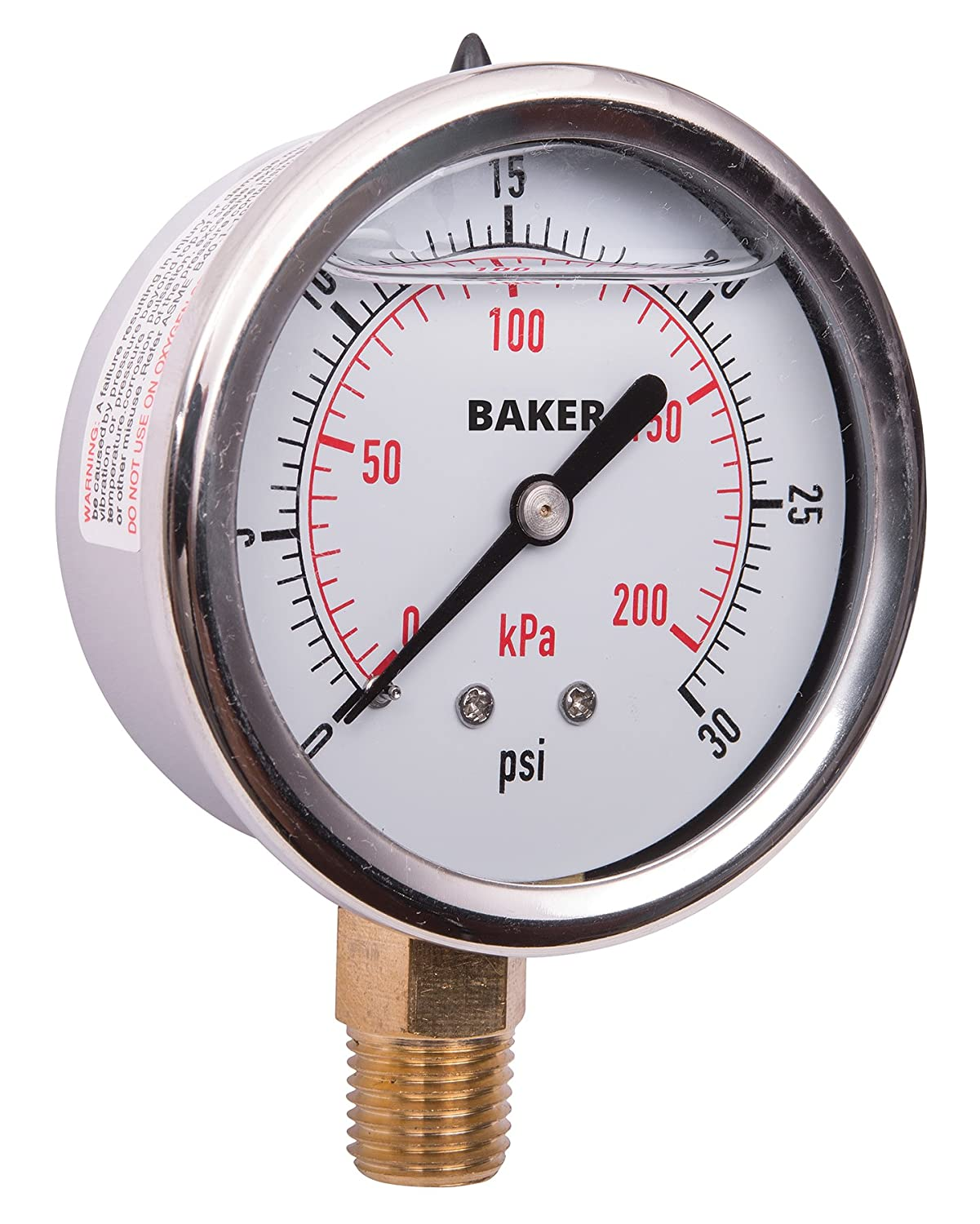 0 to 30 psi//kPa 2.5Dial Glycerine Filled -1.6/% Accuracy Baker Instruments AVNC Series Stainless Steel Dual Scale Pressure Gauge 1//4 NPT Bottom Mount