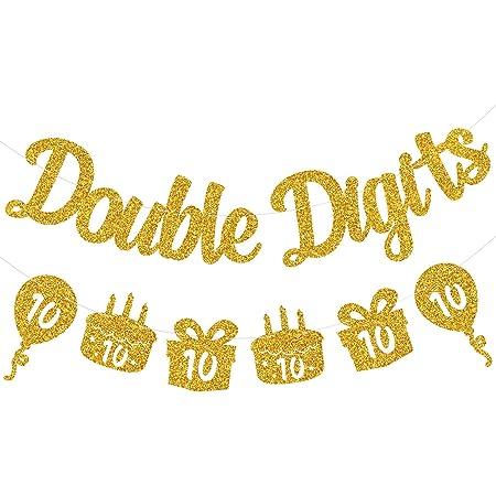 Festiko Double Digits 10th Birthday Banner - Happy 10th Birthday Decorations 10 Year Birthday Decorations for Kids 10th Birthday Decors 10th Anniversary Party Supplies