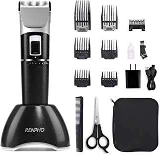 Cordless Hair Clippers for Men, Rechargeable Hair Trimmer for Kids, RENPHO Home Hair Cutting Kit with Charging Base, Body Hair Removal Machine for Women Father Mother Baby