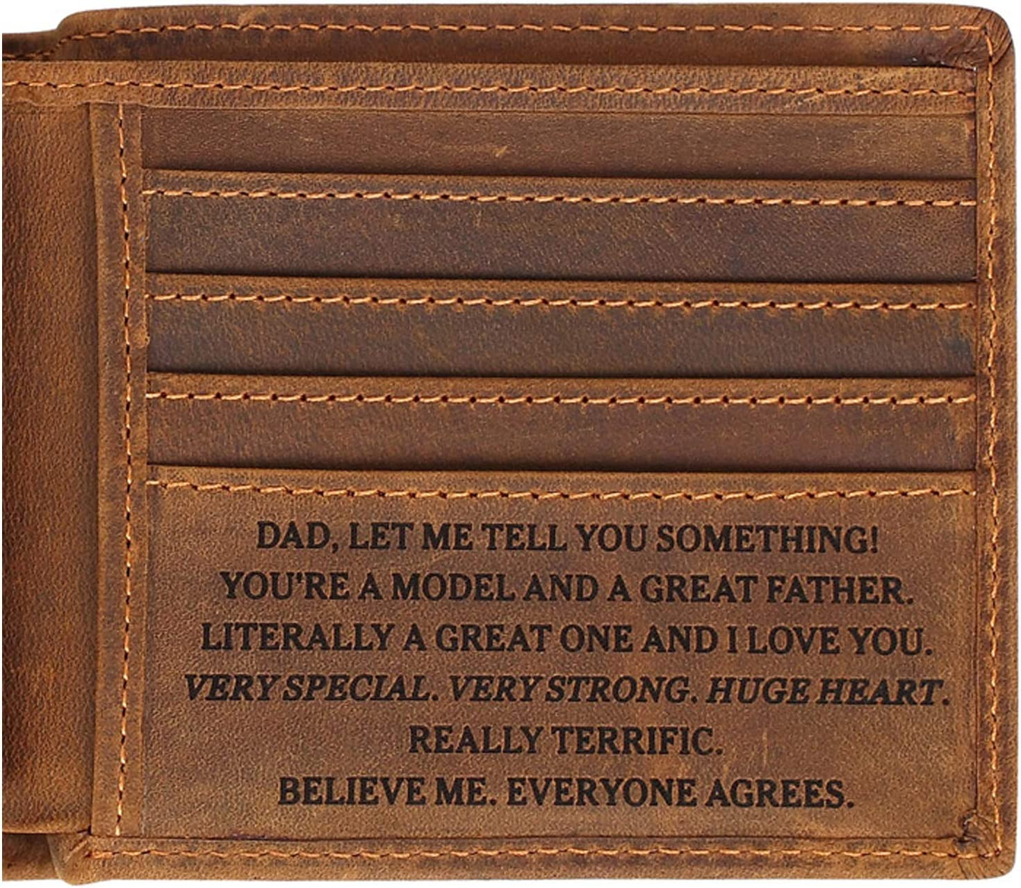 Father's Wallets - Customized Engraved Leather Men Wallet - Personalized Unique Gift For Dad As Anniversary, Birthday, Christmas and Father's Day Gift