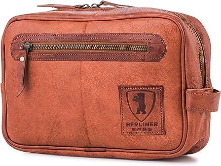 8a5568b46fc50 Berliner Bags Kulturtasche aus echtem Leder Kosmetiktasche Waschtasche  Kulturbeutel Kosmetikkoffer Vintage Männer Herren Gross Braun Cognac