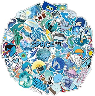 VSCO Stickers for Water Bottles 100 pcs Blue Cute Vinyl Waterproof Stickers for Hydroflasks Laptop Luggage Skateboard Guitar Phone Trendy Aesthetic Graffiti Stickers for Teens Boys Girls (Blue)
