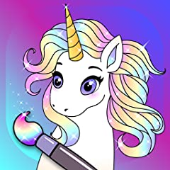100+ Unicorn and Pony Pictures 100 Different Colors Simple Children Friendly Interface Constantly New Pictures English Learning Animated Glitter Effects