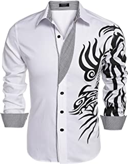 JINIDU Men's Point Collar Print Button Down Dress Shirt Casual Shirt
