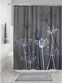 iDesign Thistle Fabric Shower Curtain, Modern Mildew-Resistant Bath Curtain for Master Bathroom, Kid's Bathroom, Guest Bathroom, 72 x 72 Inches, Gray and Purple