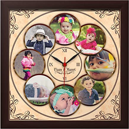 Presto Personalized Photo Collage Wall Clock Gift for Home Walls Decor (Design 3, 8 Images)