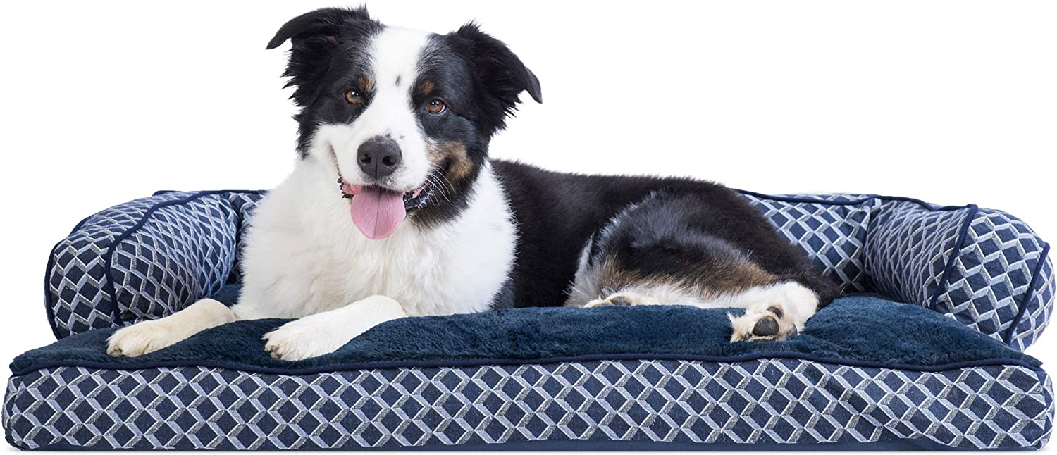 FurHaven Pet Dog Bed   Plush & Decor Comfy Couch Pillow SofaStyle Couch Pet Bed for Dogs & Cats, Diamond bluee, Large