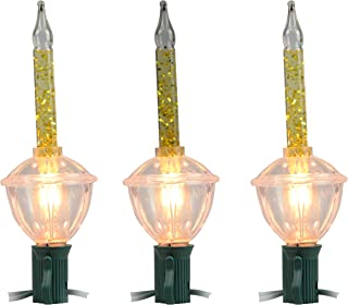 Holiday Bright Lights Bubble Christmas Lights – Set of 3 – Replacement Bulbs for The C7/ 7 Bubble Lights Set – Perfect Christmas Decorations for Christmas Trees – Gold Bulb/Gold Glitter