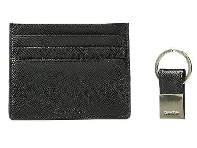Calvin Klein Saffiano Card Case w/ Key Fob (Black) Wallet