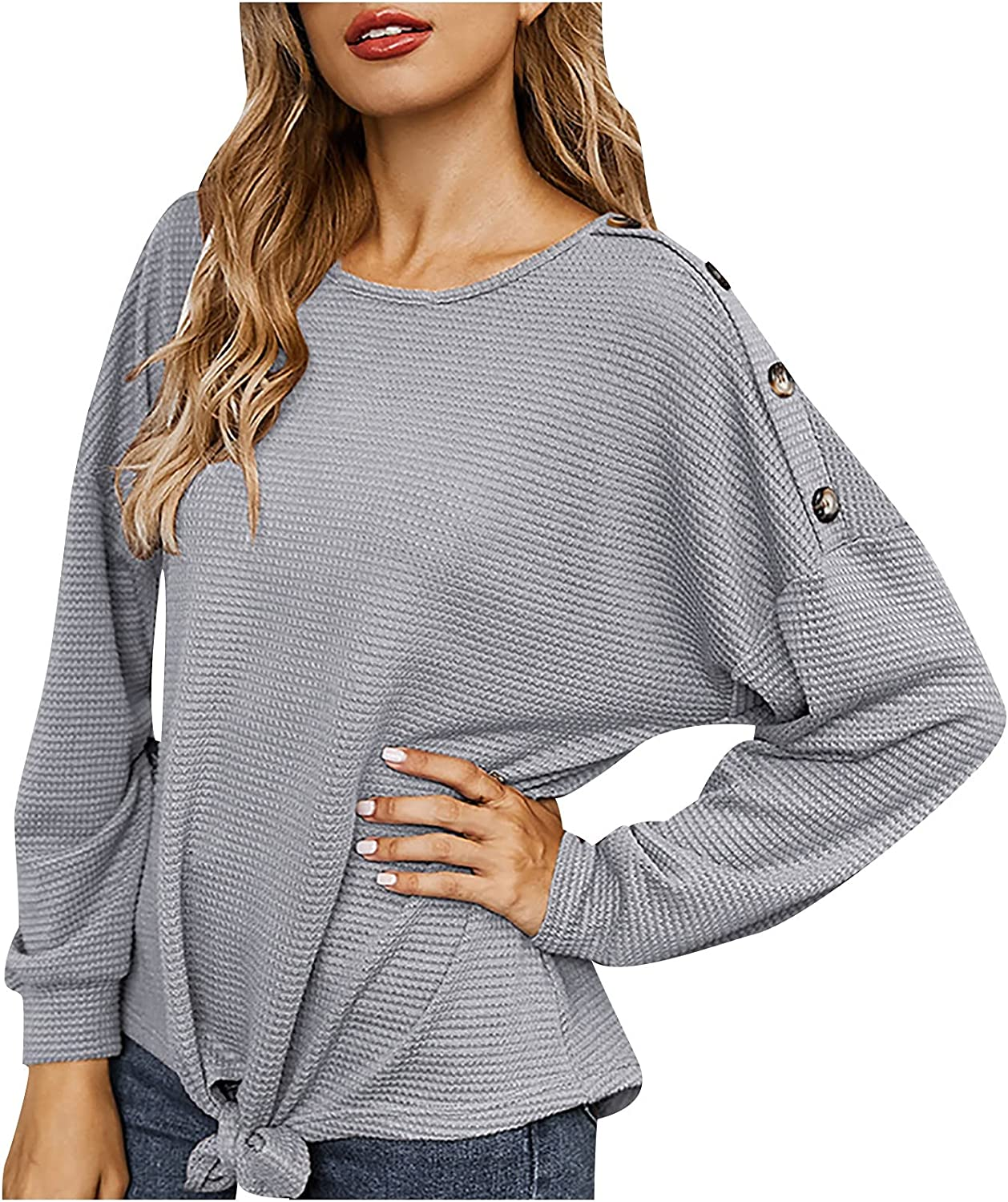 Women's Knit Tshirt Loose Bat Sleeve Blouse Solid Color Tops Fashion Twist Knot Sweater Shoulder Button Pullover