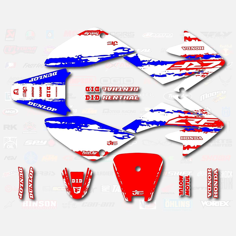 Red White Blue Slick Graphic Kit 04-19 4 years warranty Honda Nippon regular agency CRF70 fit Shroud De
