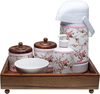 Kit Higiene Madeira Clássico, Potinho de Mel, Rosa