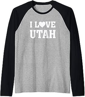 I Love Utah - Heart Silhouette Image Raglan Baseball Tee