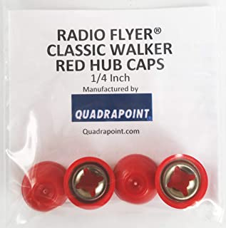 Quadrapoint Hub Caps for Radio Flyer Classic Walker Wagon - fits 1/4 Axle Diameter, Red 4-pk