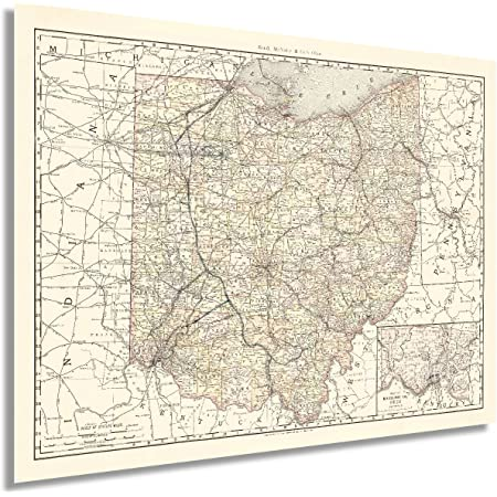 HISTORIX Vintage 1894 Ohio Map Poster - 18x24 Inch Vintage Map of Ohio State Wall Decor - Ohio State Map - Old Ohio State Poster Showing Counties and Railroad Lines - Ohio State Wall Art (2 Sizes)