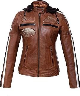 Urban Leather 58 Leren Bikerjack, Chaqueta de Moto para Mujer, Marrón (Tan), 40 / L