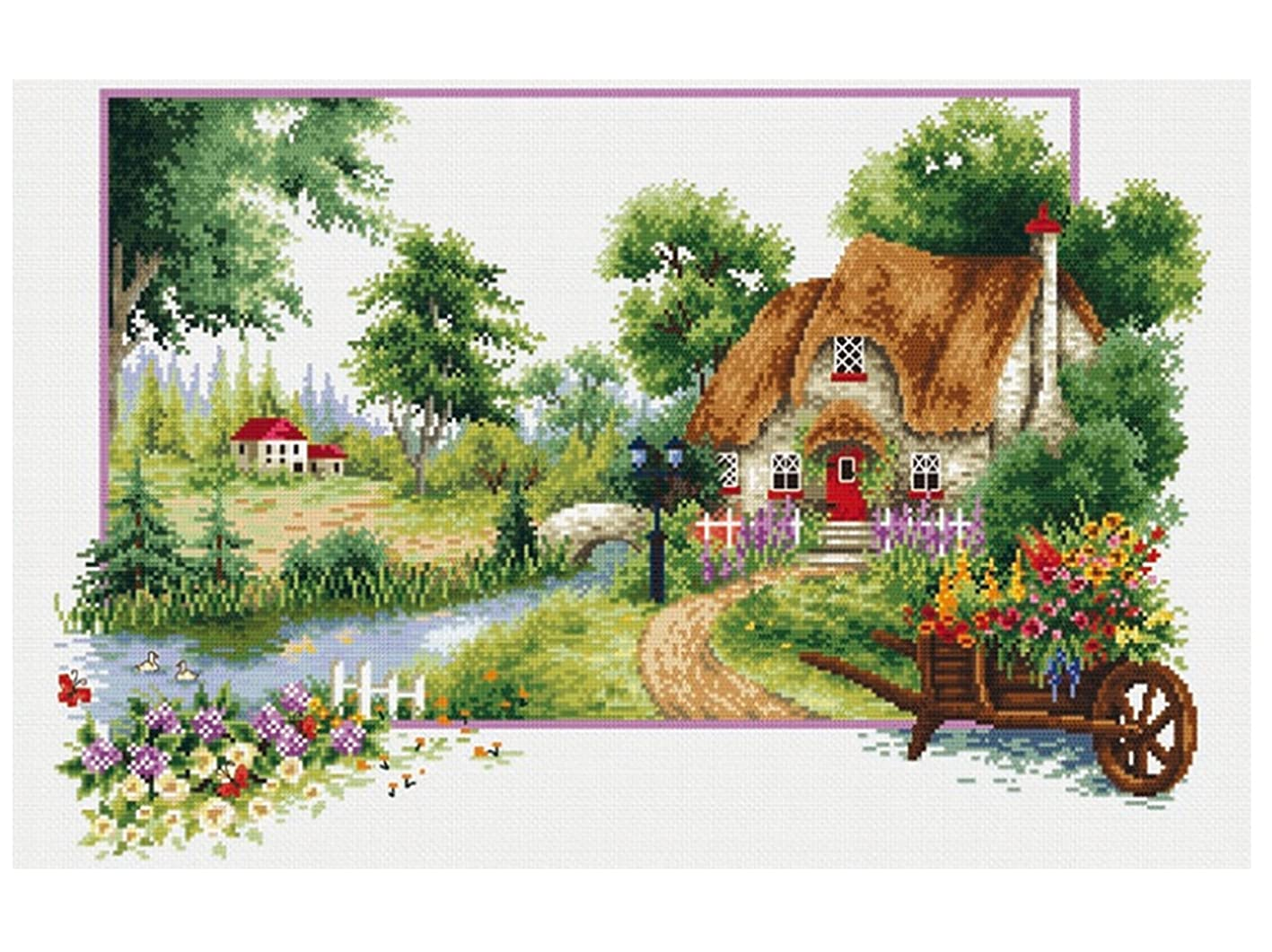 TINMI ATRS DIY Stamped Cross Stitch Landscape Kits Thread Needlework Embroidery Printed Pattern 11CT Home Decoration Four Seasons (Summer Perfume, 27x19 inch) gtgbvagnbav701