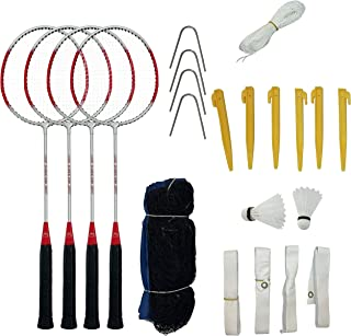 Aim Outdoor Badminton Rackets Set of 4 - Complete Badminton Set with Net for Starter, Family – Includes Bag, Shuttle, Badminton Rackets