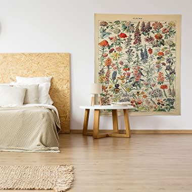 Vintage Flower Tapestry Botanical Tapestry For Bedroom Aesthetic Vertical Floral Tapestry For Wall Hanging Room Decor, 51.2 x