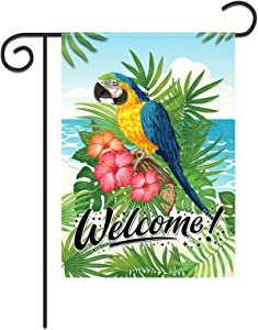 Summer Garden Flag Parrot Yard Sign Beach Party Decorations Home Decor Lawn Outdoor Decorations Yard Flags Welcome Tropical Rest Outdoor Ornament Double Side Welcome Summer House Flag Summer Banner