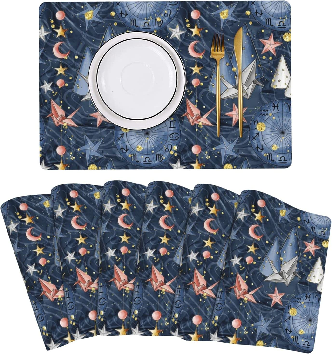 Quality inspection Origami Bird Star Constellation Placemat Leather Mats Set Bombing free shipping Table