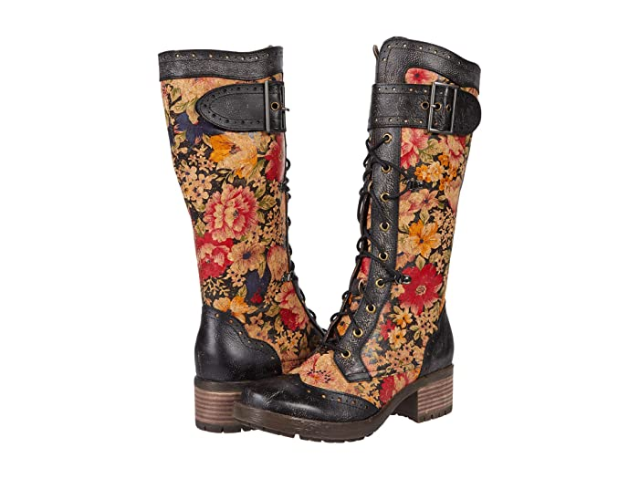 Vintage Boots, Retro Boots LArtiste by Spring Step Kisha-Flora Black Multi Womens Shoes $142.46 AT vintagedancer.com