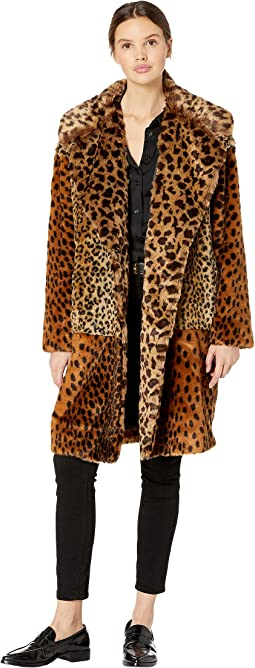 Leopard Faux Fur Long Jacket in Party Animal