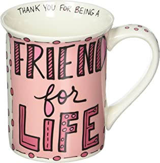 Enesco 6000112 Our Name Is Mud Hand-Drawn Friend For Life Stoneware Coffee Mug, 16 oz, Pink