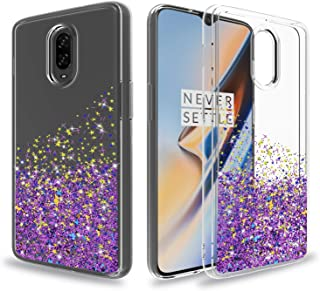 Ayoo for:OnePlus 6T Phone Cases,One Plus 6T Case,OnePlus 6T McLaren Case,[Drop Protection] Teen Girls Women Bling Liquid Luxury Glitter Sparkle Soft TPU+PC Clear Case for One Plus 6T-XX Purple