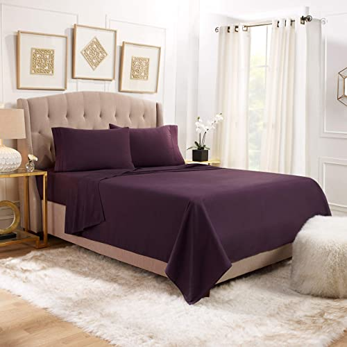 "Empyrean Bedding 14"" - 16"" Deep Pocket Fitted Sheet 4 Piece Set - Hotel Luxury Soft Double Brushed Microfiber Top Sheet - Wrinkle Free Fitted Bed Sheet, Flat Sheet and 2 Pillow Cases - Queen, Purple"
