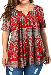 VISLILY Women's Plus Size Henley Shirt Short Sleeve Buttons Up Pleated Tunic Tops