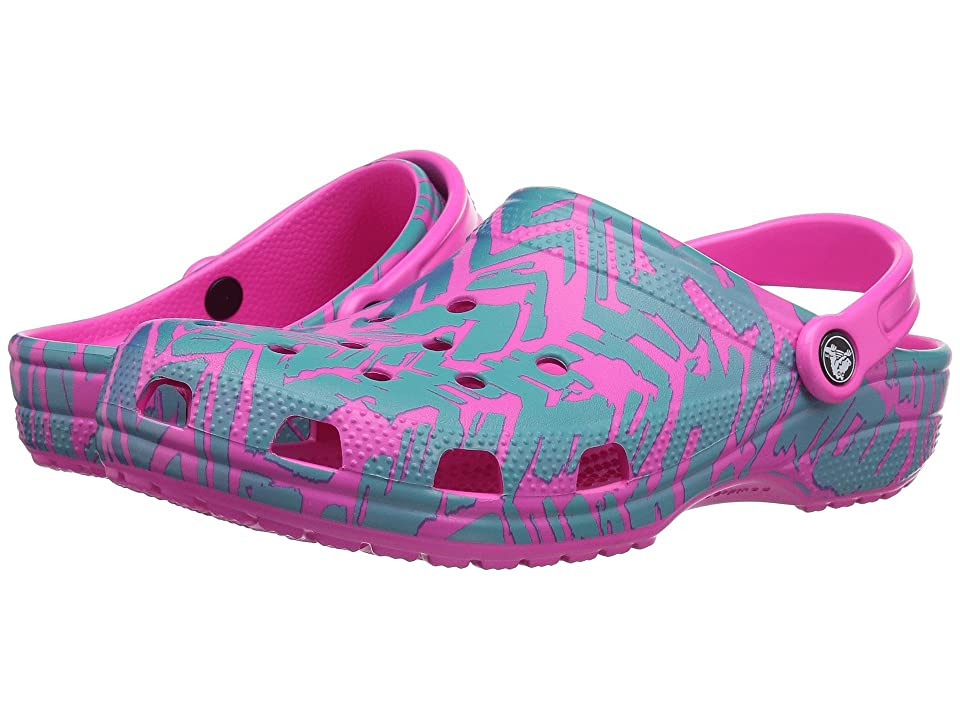 Crocs Classic Graphic II Clog (Turquoise/Neon Pink) Clog Shoes