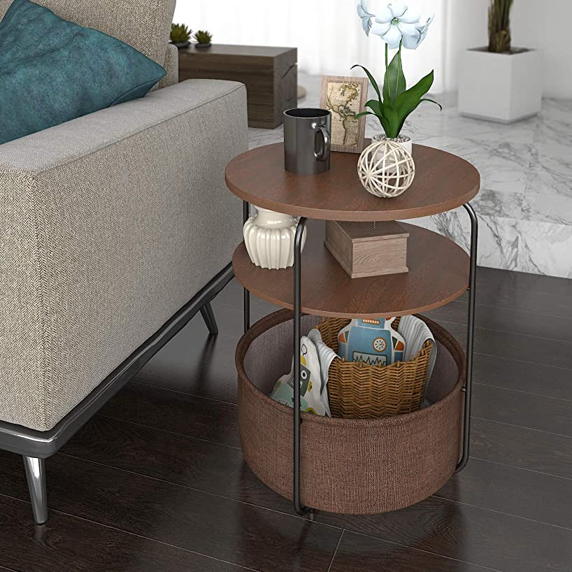 Lifewit Small Round Side Table End Table Nightstand with Fabric Storage Basket for Toys, Carpet, Pet Bed for Small Condo/Apartment in Bedroom Livingroom, Espresso